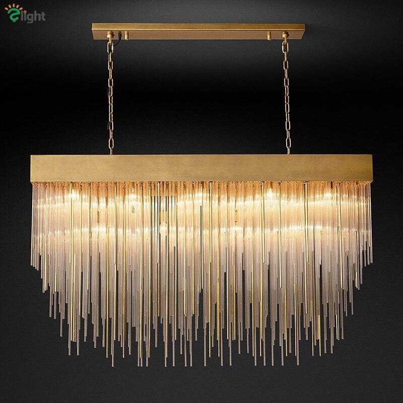 Matériel de cuivre de luxe américain Led E14 pendentif lumières Tubes de verre lampe suspendue Rectangle salle à manger lustre Luminarias éclairage