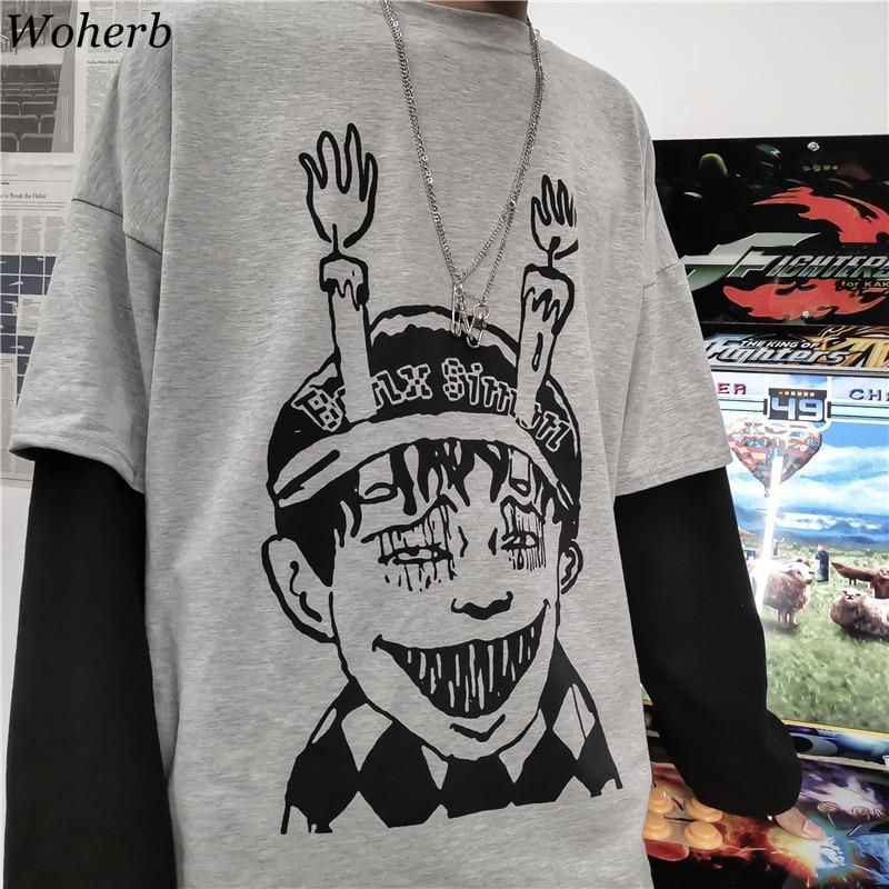 Woherb Harajuku Japanese Junji Ito Anime Print Women Man T-Shirt Fake 2 Piece O-Neck Long Sleeve Casual Loose Streetwear T-shirt(China)