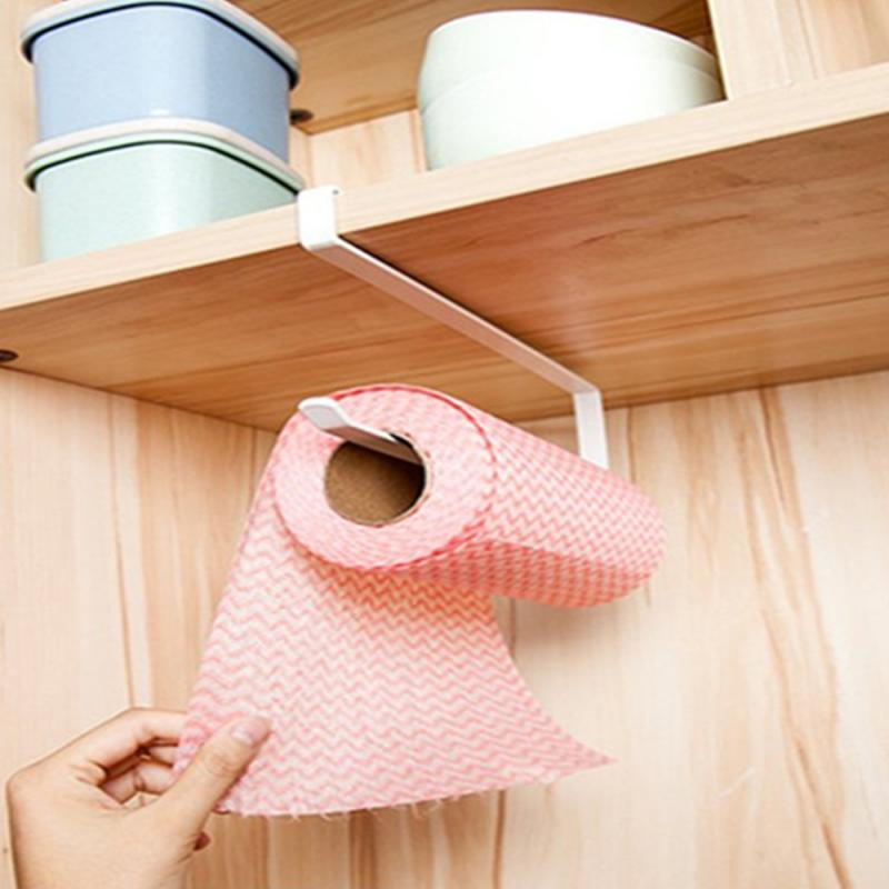Multifunction Iron Towel Rack Storage Holder Hanging Roll Paper Organizer Tissue Towel Bar Kitchen Hardware Kitchen Tools
