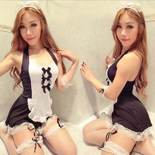Sexy Maid Lingerie Jurk Schort Uniform Set Maid Kostuum Rood Zwart(China)