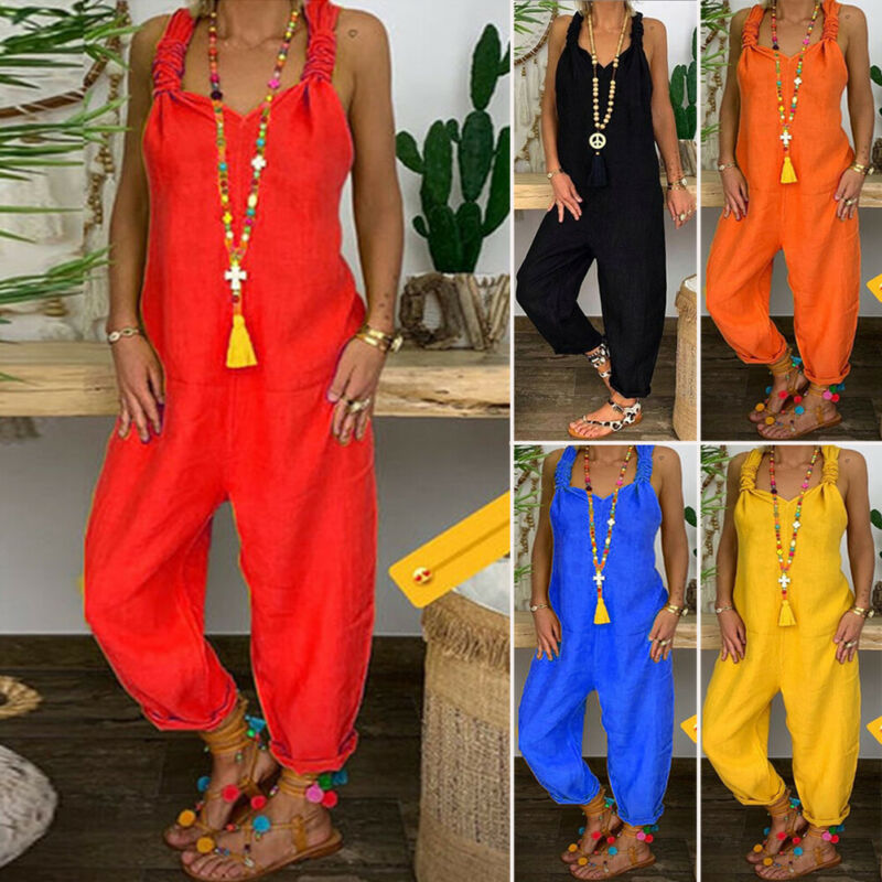 2019 Fashion Casual Summer Women Bib Cargo Loose Hip Hop Harem Solid Jumpsuit Romper Plus Size