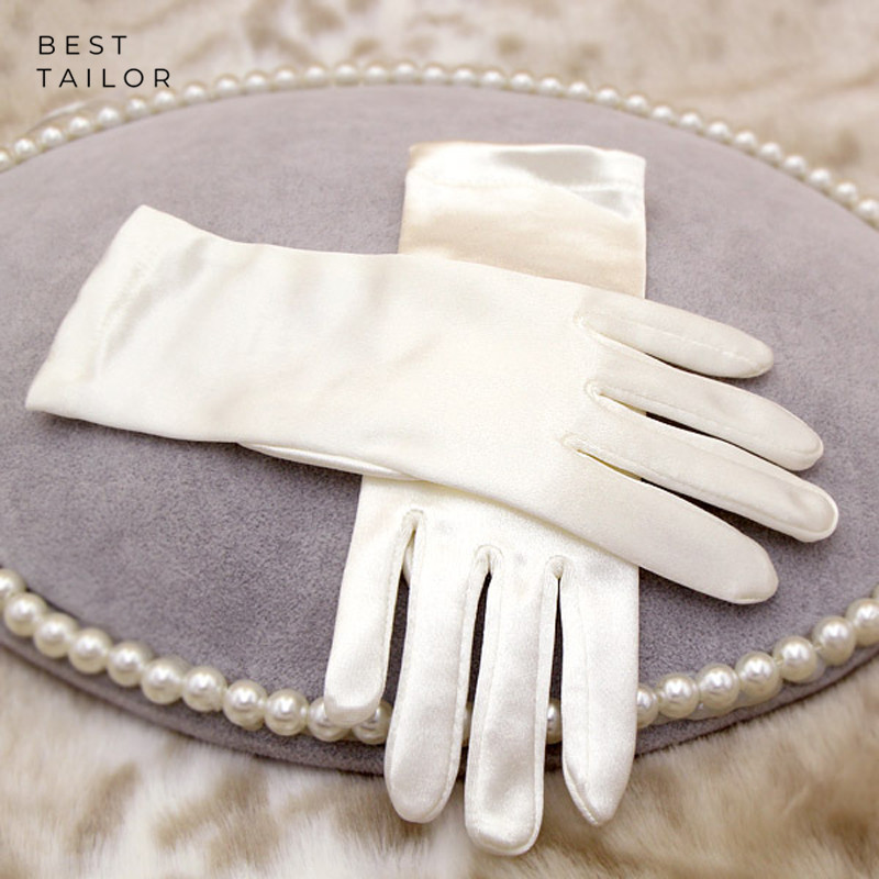 Short Wedding Bridal Hand Gloves Finger Wrist Ivory Satin Cuffs Simple Cheap Wedding Accessories Mariage Gant Mariage Femme