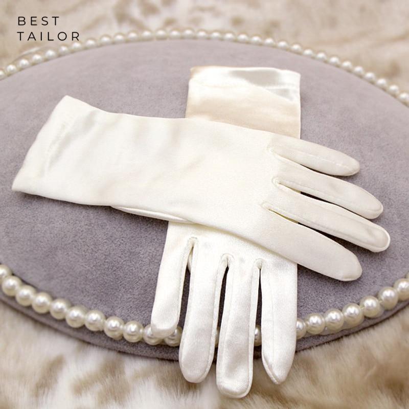 Short Wedding Bridal Hand Gloves Finger Wrist Ivory Satin Cuffs Simple Cheap Wedding Accessories Mariage Gant Mariage Femme