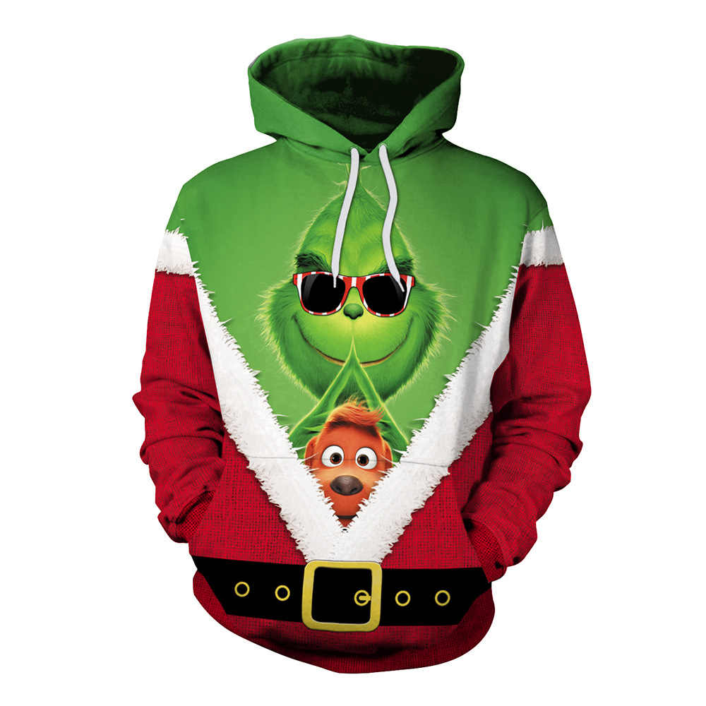 Green Monster Christmas 3D Hoodies Sweatshirts men/women autumn winter warm fashion funny 3D Clothes harajuku shirt