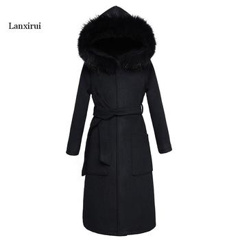 Black Woolen Coat Winter Women Jacket New Fashion With Fur Collar Hooded Outerwear Mid Long Slim Female Blends Coats 2016 autumn and winter women woolen jacket outerwear slim hooded large fur collar thickening medium long wool coat and jacket