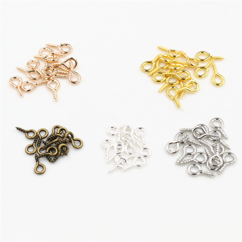 100pcs/Lot Small Tiny Mini Eye Pins Eyepins Hooks Eyelets Screw Threaded 5 Colors Clasps Hooks DIY Jewelry Making Accessories