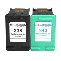 Remanufaturados cartuchos de tinta Para HP338 343 Substituição para HP 338 343 para HP338 Photosmart Deskjet 5740 6520 6540 6840 8150