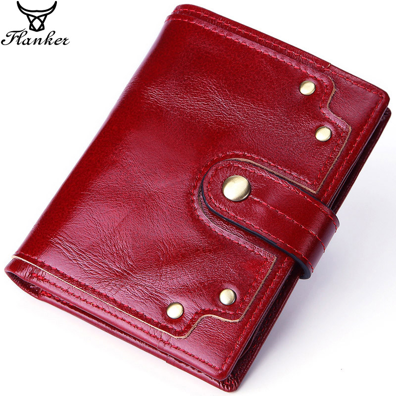 Flanker New Vintage Cow Leather Women Wallet With Coin Pocket Genuine Leather Female Purse Slim Card Holder Hasp Short Money Bag