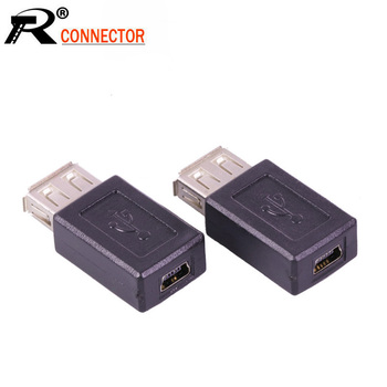 100pcs/lot USB 2.0 A Female to 5 PIN Mini USB Female Connector USB Adapter Converter Female to Female Classic Simple Design
