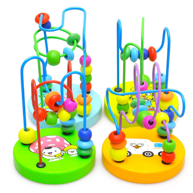 Boys Girls Montessori Math Toys Wood Circles Bead Maze Toys Game Roller Coaster Wooden Puzzles Educational Toy For Children Kids