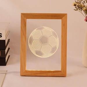 Romantic Gift Lamp Photo-Frame Wood Led Usb-Table-Lamp Night-Light Acrylic 50pcs/Lot