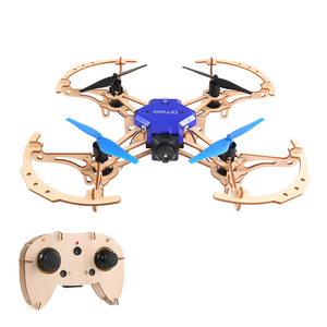 ZL100 Wooden Aircraft DIY Drone with Camera 720P Wifi FPV Altitude Hold Display Headless Mode Training Educational Quadcopter