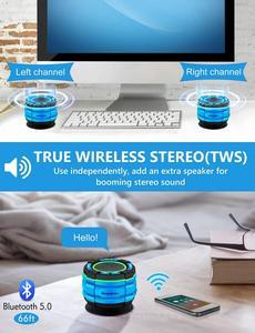 Image 4 - Basspal F021 Tws IPX7 Waterdichte Bluetooth Douche Luidspreker, Draagbare Draadloze Luidspreker Met Led Lichtshow, Fm Radio, zuignap