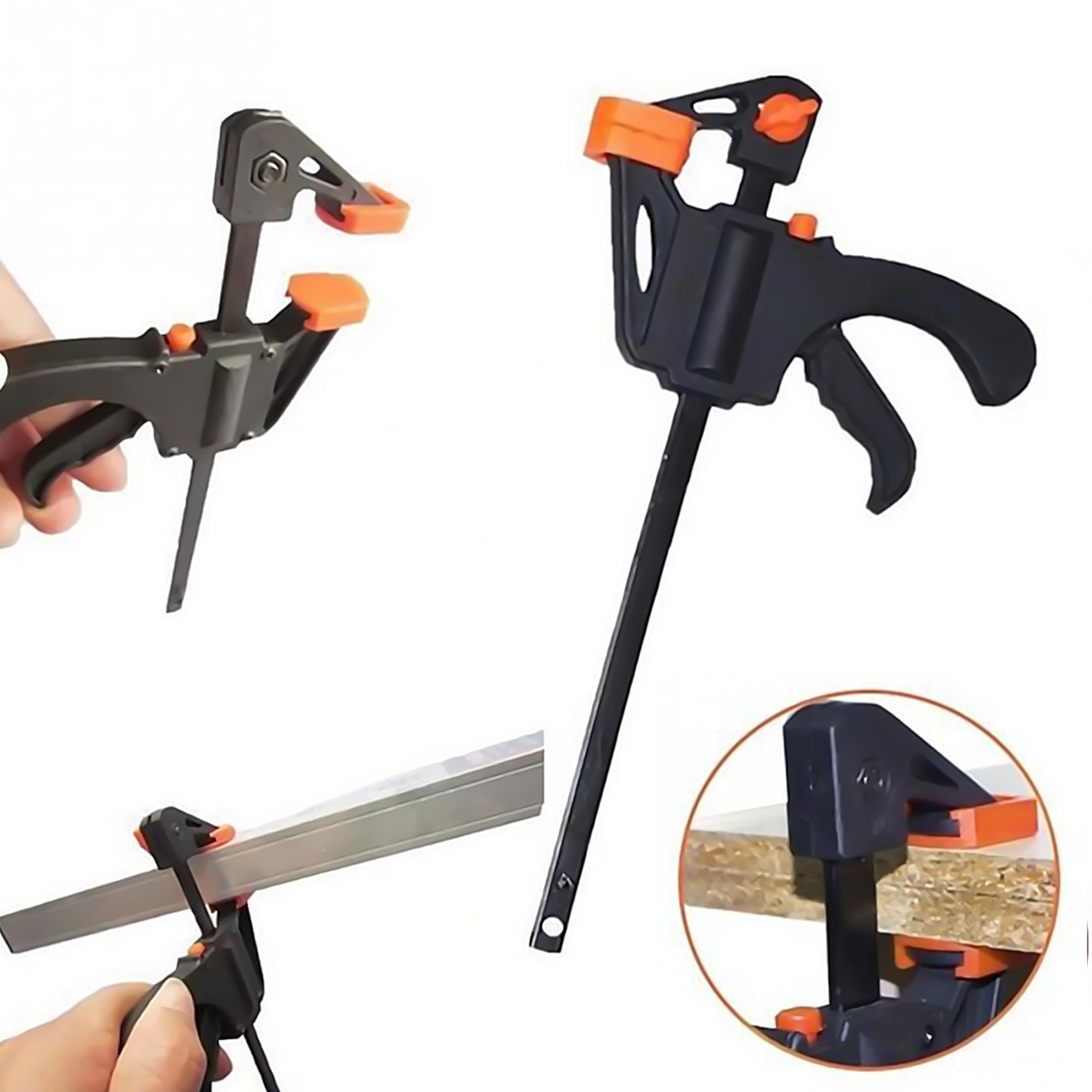 5pcs 4 Inch F-Clamps Bar Quick Clip Grip Ratchet Release Squeeze Woodworking DIY Carpenter Hand Tool Kit