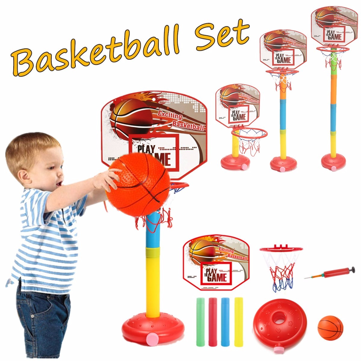 Garden Portable Kids Basketball Stand Toy Adjustable Height Ball Games Toy Basketball Backboard Stand Hoop Inflatable Ball Set