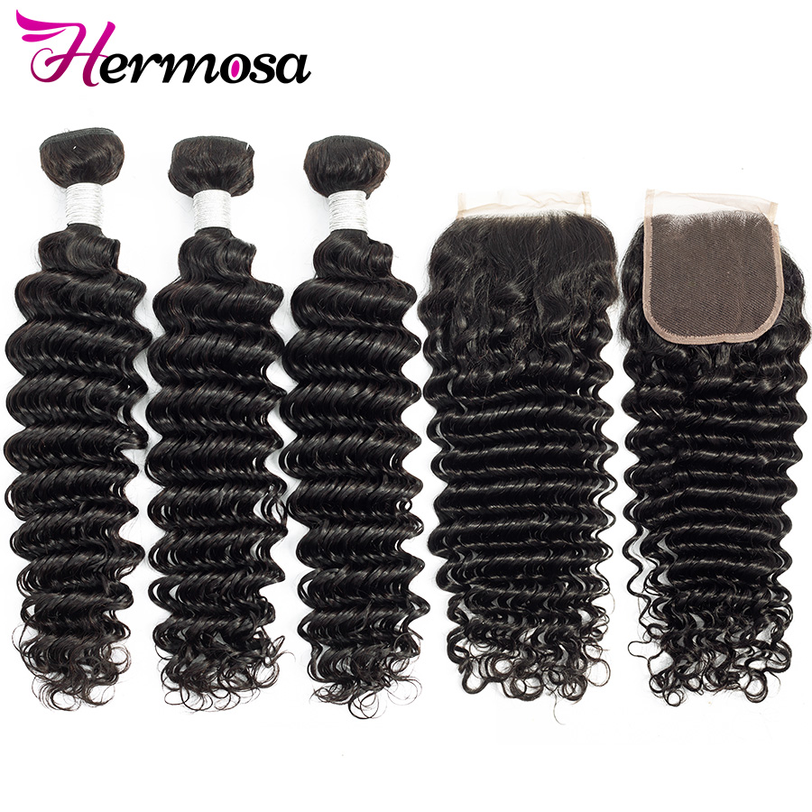 H3cee5f49e1cd4f918eb82fb50b216d05L Hermosa Brazilian Deep Wave Bundles With Closure Double Weft Non-Remy Human Hair Bundles With Closure Natural Black Middle Ratio