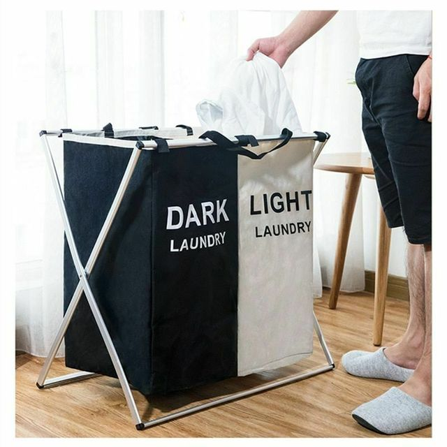 X-shape Collapsible Dirty Clothes Laundry Basket 2/3 section Foldable Organizer Dorm Laundry Hamper Sorter Washing Laundry Bag 1