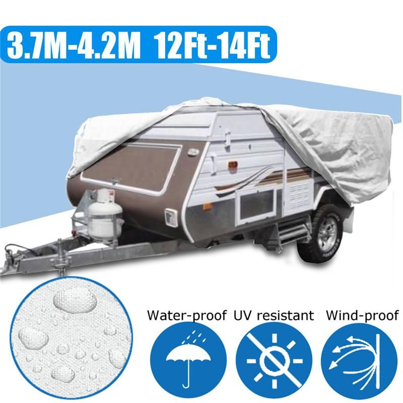 Anti-poussière couverture remorque camion voiture Anti-UV étanche soleil pluie Camping extérieur Campervan protecteur 4.2x2.2x1.35 m