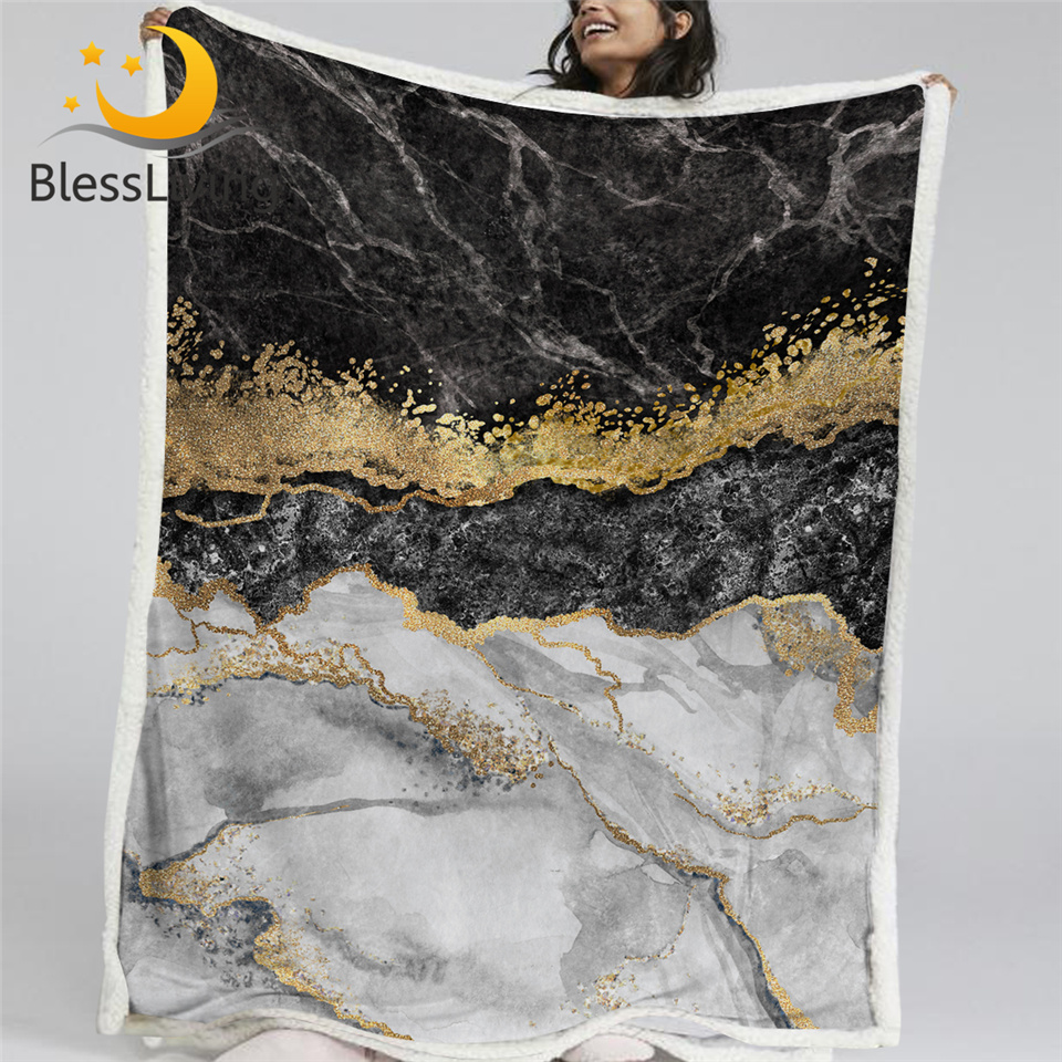 BlessLiving Marble Pattern Sherpa Fleece Blanket Black White Gold Foil Bed Blanket Abstract Art Throw Blanket Mantas De Cama(China)