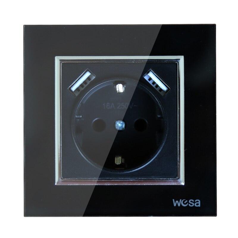 2019 New Design Double USB Decorative Wall Socket 5V 2A Black Tempered Glass Frame FB-19