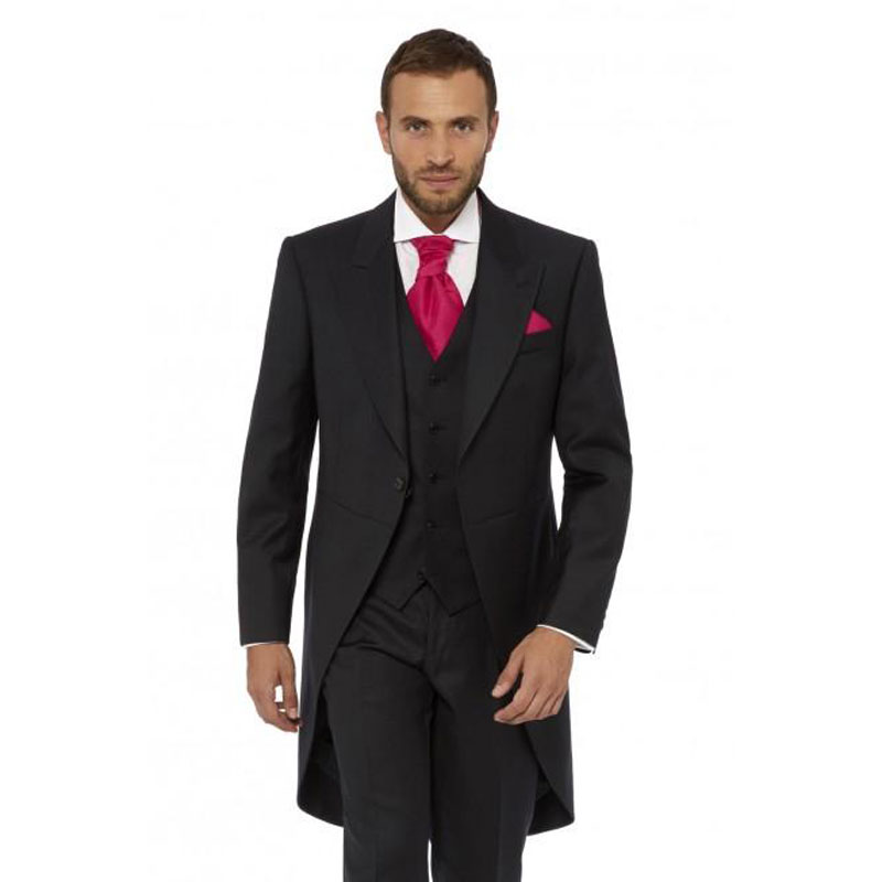 Morning Party Black Tailcoat Men Suits For Wedding Custom Made Groom Tuxedos Man BLazers 3Piece Terno Masculino Costume Homme