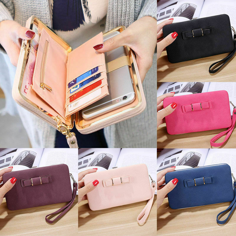 Women Girl PU Leather Clutch Wallet Long Women Heel Purses Box Wallets Card Holder Mobile Handbag Case