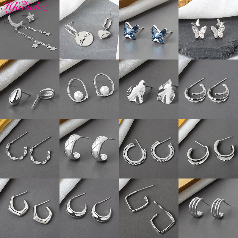 Fashion Silver Color Tassel Moon Star Earrings for WomenTwist Circle Chain Stud Earring Vintage Statement Earrings Jewelry
