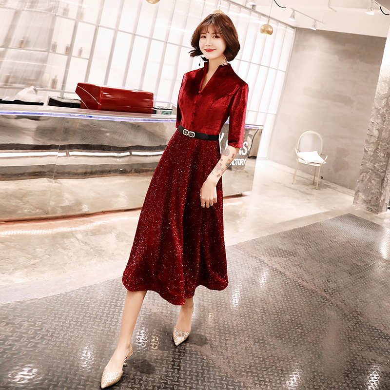 2019 Sale 2020 New Autumn And Winter Can Wear Velvet Little At Ordinary Times Long Evening Dresses Cultivate Morality Show Thin