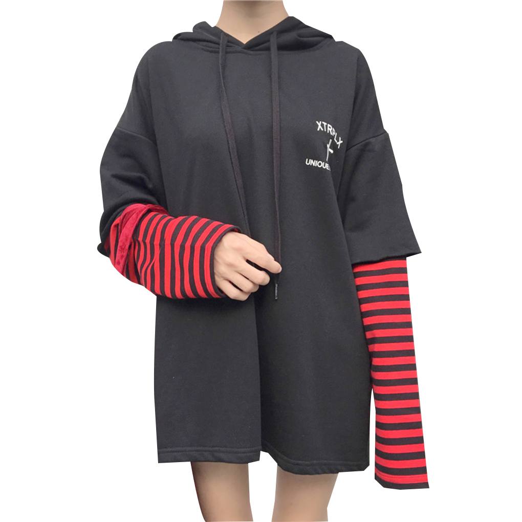 Women Fake Two Piece Stripe Patchwork Hoodie Letter Drawstring Hooded Top