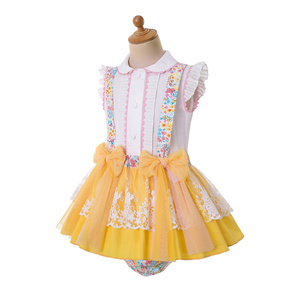 Image 3 - Pettigirl  Wholesale Easter Yellow Flower Printed Child Outfit Baby Girl Summer Clothing Set  For Kids Clothes+PP Pants+Headwear