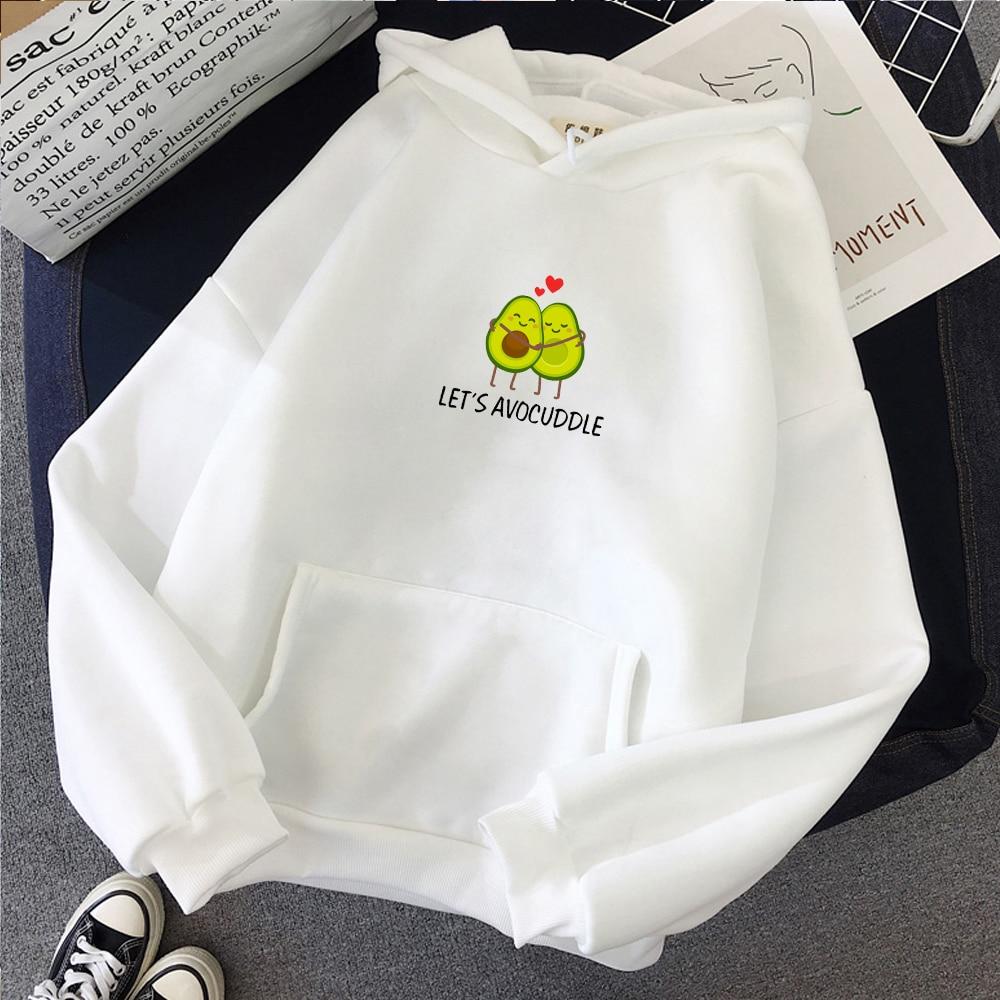Avocado Graphics Letter Printing Warm Kpop Sweatshirt Streetwear Kawaii Hoodie Thickening Coat Korean Style Heart-shaped Women