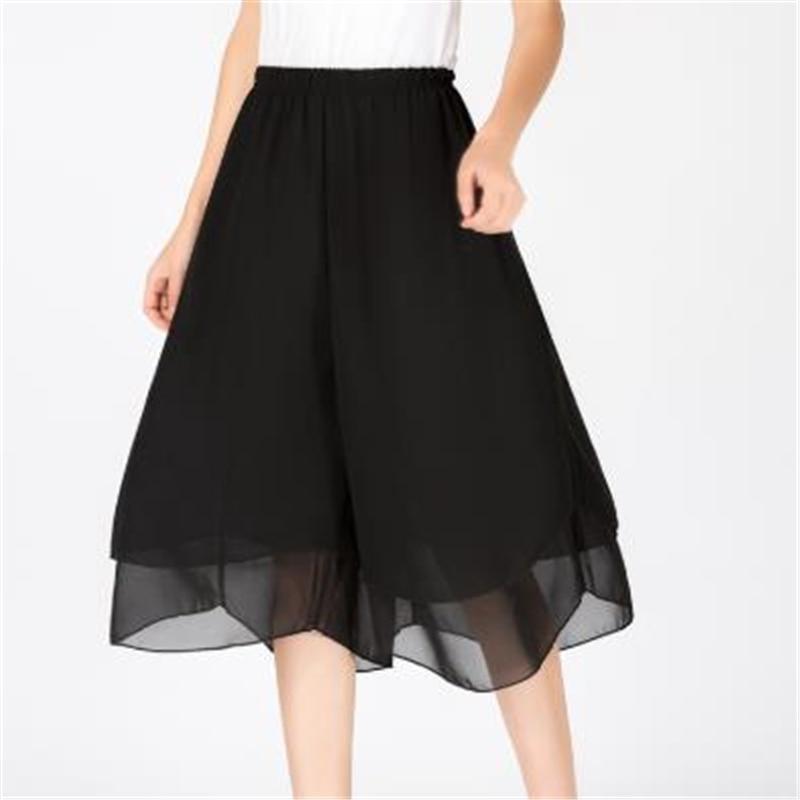 Woman Summer Plus Size Solid Elastic Waist Calf-length Pants Wide Leg Pants Female Black Mid Loose Chiffon Wide Leg Trousers