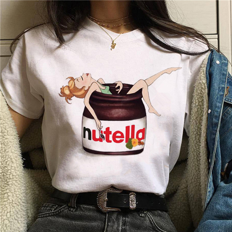Nutella Funny T Shirt Women Fashion Cartoon Print White T-shirt Harajuku TShirt Short Sleeves Tops Tee Shirt Femme Summer TShirt