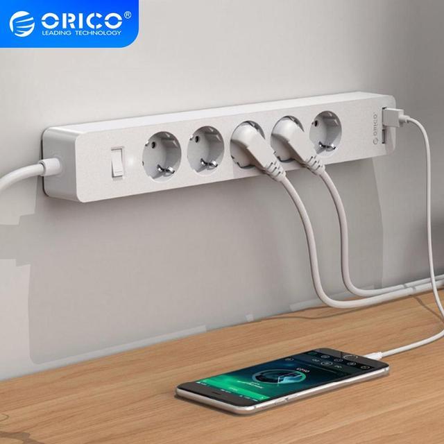 USB ORICO חכם כוח רצועת שקע 4000 w עם דבק לוח שקע 2 AC 5AC חנויות 2 USB טעינת יציאות עבור בית משרד תקע