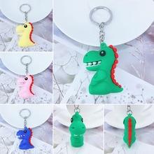 New PVC soft cartoon dinosaur keychain hanging ornaments girls bag car key pendant manufacturers custom