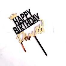 Adorno acrílico para pastel de cumpleaños de princesa, adorno acrílico para pastel de Rey de oro, Reina, adornos de pastel de fiesta, Baby Shower