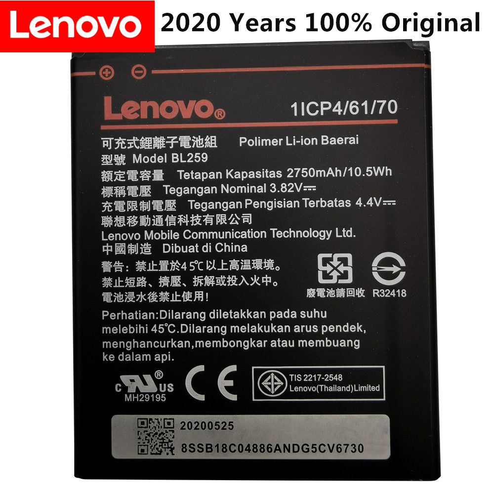 2020 Years 100% Original Tested New 3.82V 2750mAh BL259 For Lenovo Vibe K5 / K5 Plus / A6020 A6020A40 A6020A46 Battery
