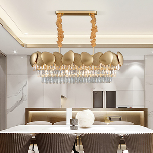 Image 2 - الفاخرة الحديثة كريستال الثريا لغرفة الطعام تصميم المطبخ جزيرة سلسلة تركيبة إضاءة مصباح الذهب ديكور المنزل كريستال