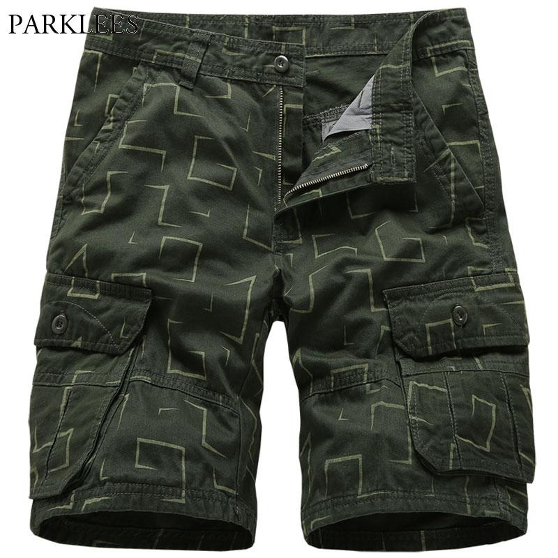 Calções de Carga dos Homens do Verão Algodão Imprimir Calças Soltas Bolso Streetwear Roupas Bermuda Masculino Pantalon Homme 100%