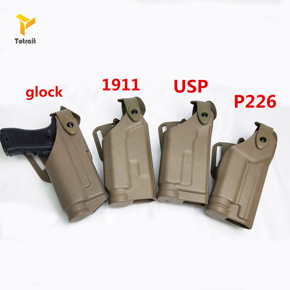 Tactical Belt Gun Holster For Glock 17 19 1911 M9 SIG P226 USP Airsoft Pistol Case Combat Hunting Holster Flashlight Right Hand