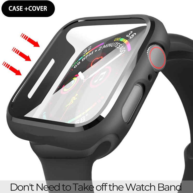 מזג זכוכית מסך מגן מחשב פגוש מקרה עבור אפל שעון סדרת 5 4 3 כיסוי slim עבור iWatch 5 4 3 מסגרת 40mm 44mm 38 42