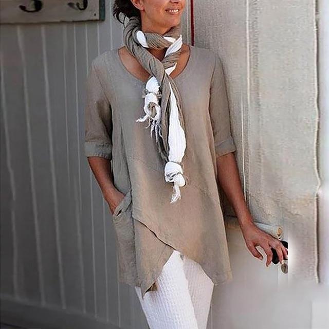 Irregular Hem Solid Loose Woman Blouses Shirts Vintage Casual O-Neck Long Sleeve Shirts Tops Elegant Vintage Female Blouses Robe 1