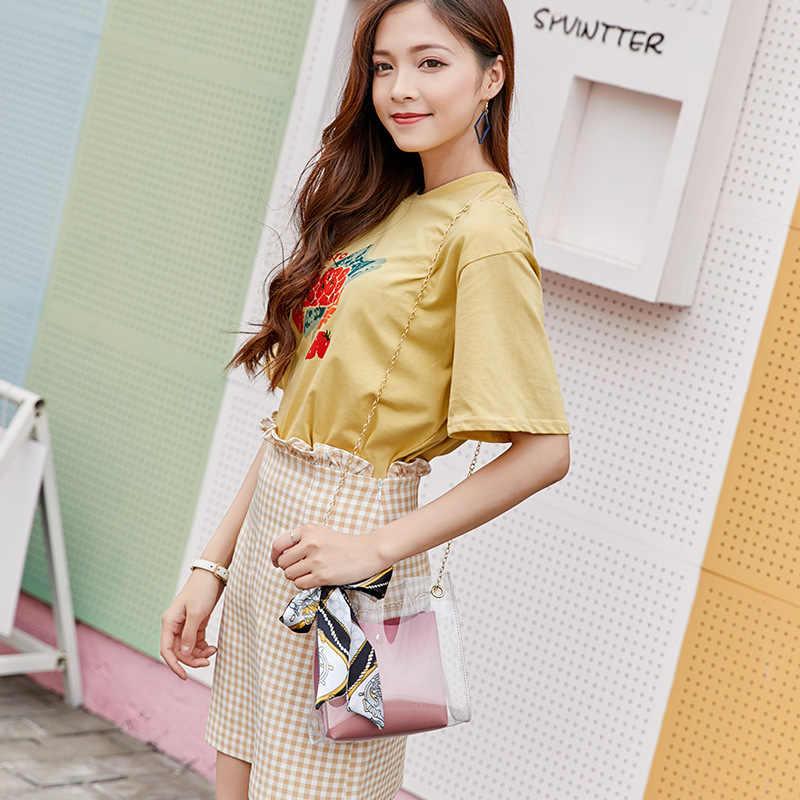 ドロップシッピングクリア透明チェーンのグラデーションカラー Shouder バッグクロスボディバッグ高級ハンドバッグの女性のバッグデザイナーメッセンジャーバッグ
