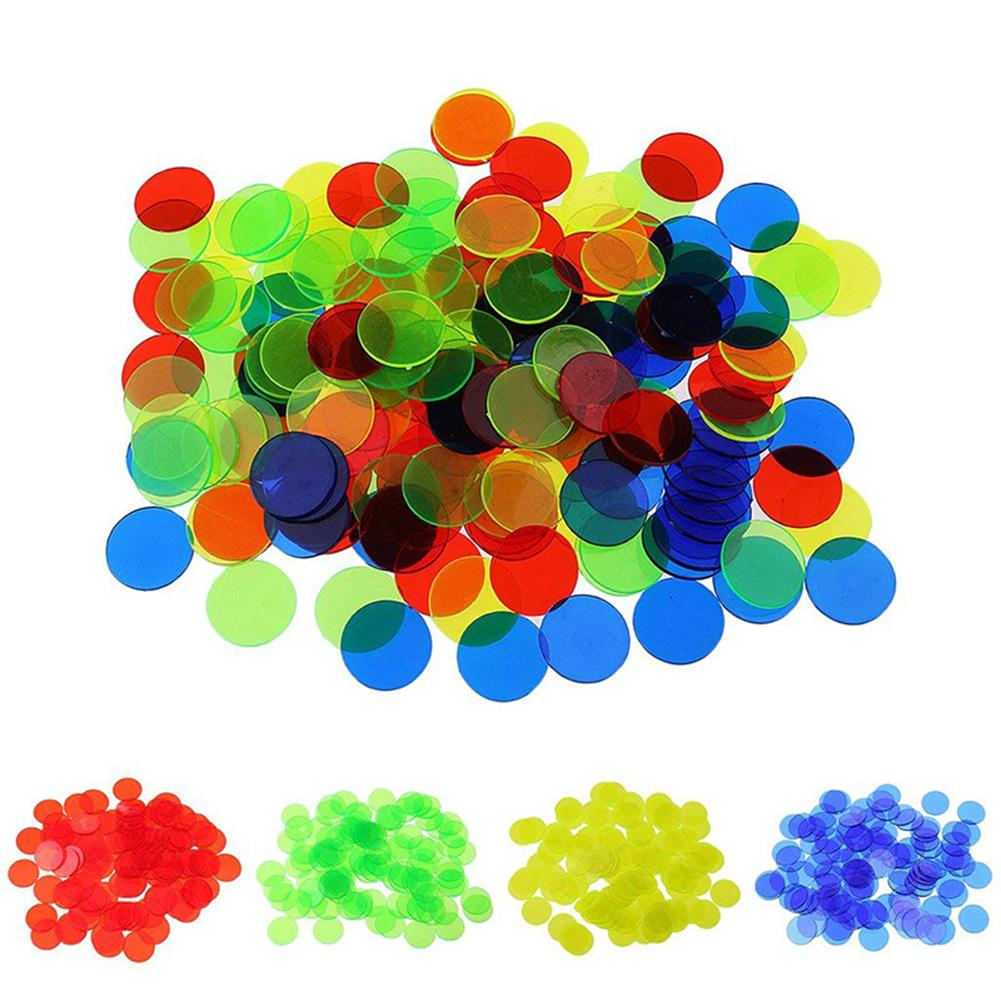 100Pcs 19mm Kids Bingo Chips Transparent Color Counting Math Game Counters Markers Plastic Children Teaching Accessory Non-Toxic