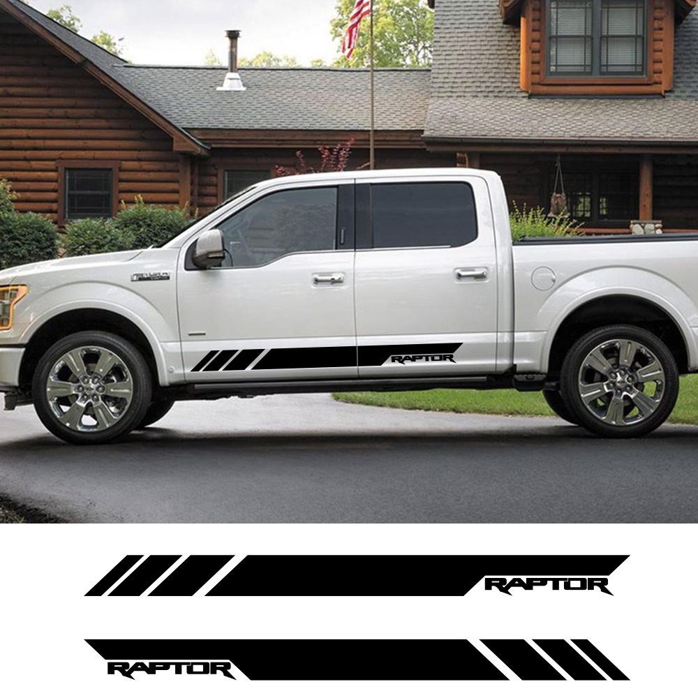 2Pcs For Ford Raptor <font><b>F150</b></font> F250 F350 F450 F550 F650 F750 Truck Side Car Sticker Auto Vinyl Film Automobile Car Tuning <font><b>Accessories</b></font> image