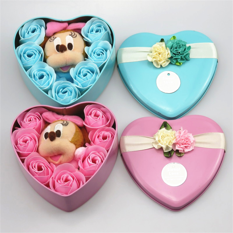Handmade Lovely Mickey Mouse Plush Toys Stuffed Animals Heart Shape Gift Box Creative Valentine's And Birthday For Girls