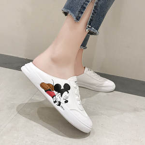 Disney Slippers Sandals Mickey Mouse No-Heel White Ladies Cartoon Summer Small Wild-Flat-Lazy