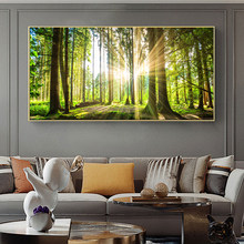Sunshine and Green Tree Art Canvas Painting Natural Forest Landscape Posters and Prints Wall Art Picture for Living Room Decor