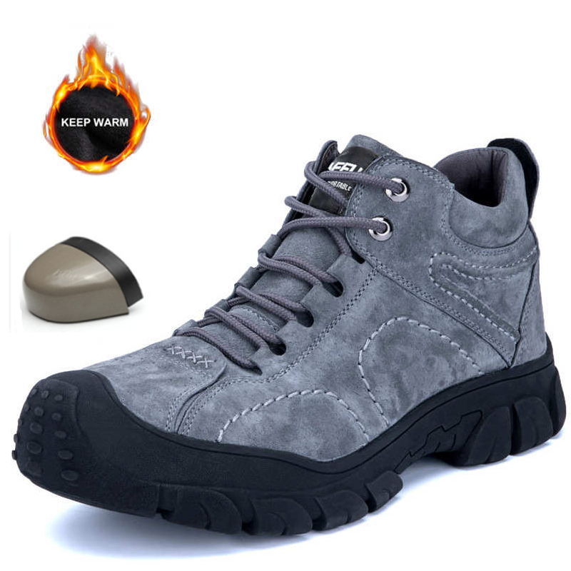 2019 New Men's Breathable Safety Shoes Outdoor Construction Plus Velvet Warm Waterproof Work Shoes Men's Boots