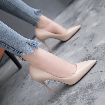 Women's Shoes Korean Shallow Mouth Patent Leather Single Shoes Sexy Thin Heels Nude Color High Heels Simple Elegant Party Pumps image